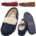 Womens / Ladies Suede Moccasin Slipper with Plush Fabric Lining - Crimson, Navy