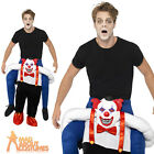 Adult Sinister Clown Piggy Back Costume Halloween Horror Fancy Dress Outfit New