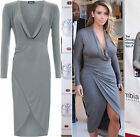 Womens Cowl Neck Ruched Wrapover Long Sleeve Stretch Bodycon Ladies Dress 8-14