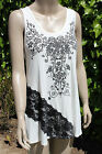 Vocal Tank Tunic Shirt, White with Black Lace Detail -Long style, New