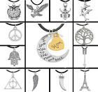 Hot Men's Women's Silver Tone Pendant Charms Necklaces With Black Leather Rope