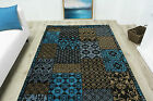 Patchwork Teal Blue Brown Patch Squares Patches Boho Bedroom Living Room Rugs
