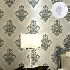 Elegant Victorian Black White Glitter Damask Wallpaper