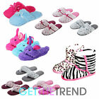 Girls Furry Novelty Slippers Open Toe Post Faux Fur Slip On Mules Multipack