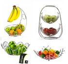 Chrome Banana Hanger Tree Holder Fruit Storage Bowl Basket Stand Hook Orange
