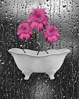 Pink Gray Daisy Flowers Bathroom Bedroom Wall Art Matted Picture