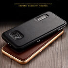 Luxury Aluminum Genuine Cow Leather Case Cover For Samsung Galaxy Note 7 S7 Edge