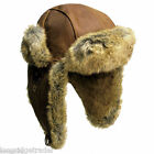 Mens Kakadu Huskie Inlander Aviator Hat Leather Tobacc Fu...