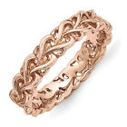 4.5mm Rose Tone Plated Sterling Silver Stackable Carved Heart Band