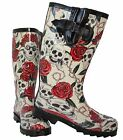 Ladies Womens Girls Skulls & Roses Adjustable Wellies Wellington Snow Boots New