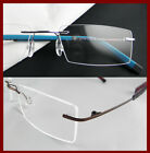Rimless Titanium Eyeglass frame men light weight hinged optical silver/brown New