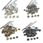 Heavy Duty Snap Fasteners 15mm 15 Sets Press Studs Kit Poppers Buttons w/Tool UK