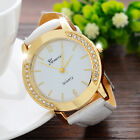 New Men Women Crystal Fashion Leather Analog Stainless Steel Quartz Wrist Watch