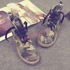 Womens Leisure Canvas Camo Low Heel Ankle Boots British Round Toe Lace Up Autumn