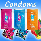 ADORE Condoms Extra safe, Ribbed, Pleasure Mixed Flavoured Lubricated Teat ended