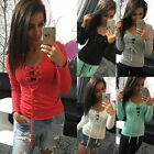 Women Lady Tie Lace Up V Neck Blouse Long Sleeve Jumper Casual T-Shirt Top Shirt