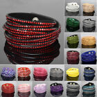 Suede Leather Wrap Around Slake Bracelet with Crystals Adjustable Various