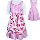 3 PCS Women's Floral Oktoberfest  Dirndl Dress German Vintage Costume Pink Plaid
