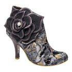 Irregular Choice Pearl Necture Heeled Grey Booties - Womens Statement Footwear