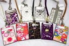 NWT Coach ID Lanyard Badge Pass Holder Card Case Silver Pink Purple Black Floral