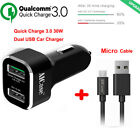 Car Chargers Android Best Deals - [Quick Charge 3.0] Qualcomm Certified High Rapid USB Wall & Car Charger Adapter