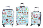 Set 3 trolley rigidi in abs 4 ruote piroettanti piccolo da cabina art smile
