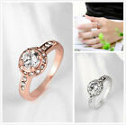 5pcs New Round White Big Rhinestone Wedding Jewelry Rings Fit Women Size 6-8 D