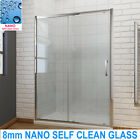 Sliding Shower Doors With Tray Screen Enclosure 8mm NANO Self Clean Glass &Waste