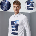 Leisure Printed Men Shirts  Long sleeve Slim Tops Russian Style  Fashion T-shirt