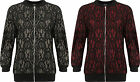 Womens Plus Zip Bomber Jacket Ladies Floral Lace Lined Long Sleeve Crew Neck New