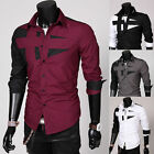 Men's Luxury Casual Slim Fit Stylish Tops Dress Shirts Long Sleeves Slim4 Colors