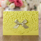 Yellow Wedding Invitation Cards Lace Hollow Personlize Laser Cut With Envelopes