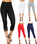 Womens 3/4 Stretch Leggings Lace Trim Cuffs Elasticated Plain Basic Pants 8-14