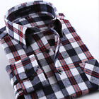 New Winter Flannel Mens Long Sleeve Plaids Checks Casual Dress Shirt Tops  #1