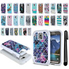 For Samsung Galaxy S5 Active G870A Studded Bling HYBRID Case Phone Cover + Pen