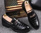 Mens new round toe slip on crocodile casual shoes chain chunky heel black