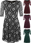 Womens Plus Floral Lace Party Flared Skater Dress New Ladies Print Short Sleeve