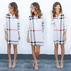 New Women Casual Plaid 3/4 Sleeve Top Blouse Ladies Summer Shirt Long Tops Dress