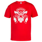 """FIREFIGHTER T-SHIRT """"FIREFIGHTER 13 FIRE DEPT"""" IDEAL FOR CASUAL WEARS RED"""