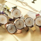 Women's Leather Watch Crystal Casual Quartz Gold Sand Analog Fashion Wristwatch