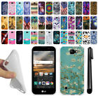 For LG K3 LS450 Various Design TPU SILICONE Soft Protective Case Cover + Pen