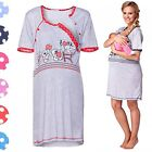 Happy Mama. Women's Maternity Nursing Breastfeeding Nightdress Shirt Gown. 365p