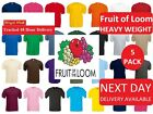 5 Pack Men's Women Fruit of the Loom Plain Heavy Cotton Blank Tee Shirt Tshirt