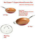 """Red Copper Ceramic Frying Pan 10"""", 12"""" inch Skillet, Optional Matching Lids New"""