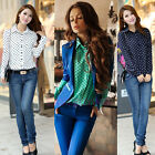 Fashion Women Ladies Chiffon T Shirt Floral Print Long Sleeve Blouse Casual Tops