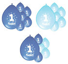 10 x 1ST BIRTHDAY BOY/ AGE 1 BOY BLUE AND BABY BLUE BIRTHDAY BALLOONS (PA)