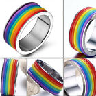 Rainbow Silicone Ring for Men Women Band Titanium 316L Stainless Steel Jewelry