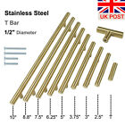 ∅12mm Brass Stainless Steel T Bar Kitchen Cabinet Door Handles Pull Knobs Golden