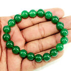 BEAUTIFUL 152 CTS NATURAL GREEN ONYX GEMSTONE ROUND BEADS FLEXIBLE BRACELET BS-5
