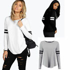 Women Ladies Striped Autumn Casual Loose Long Sleeve Blouse Tops Casual T-shirt
